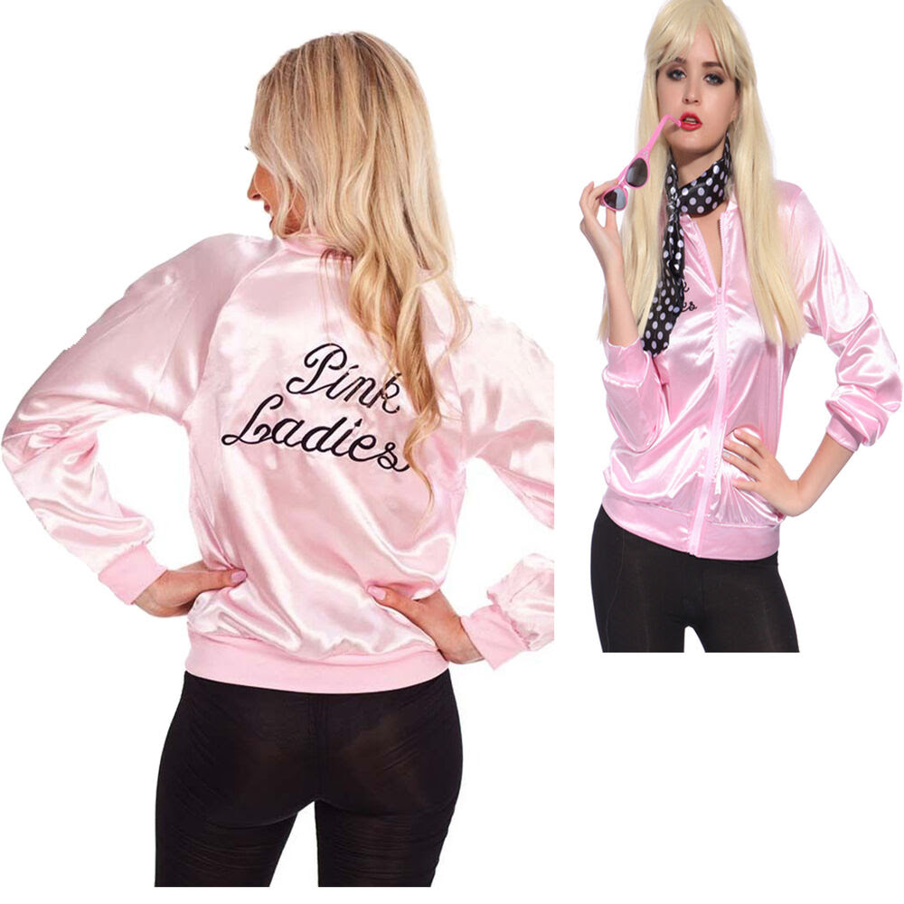 pink lady jacket retro grease women costume hen team