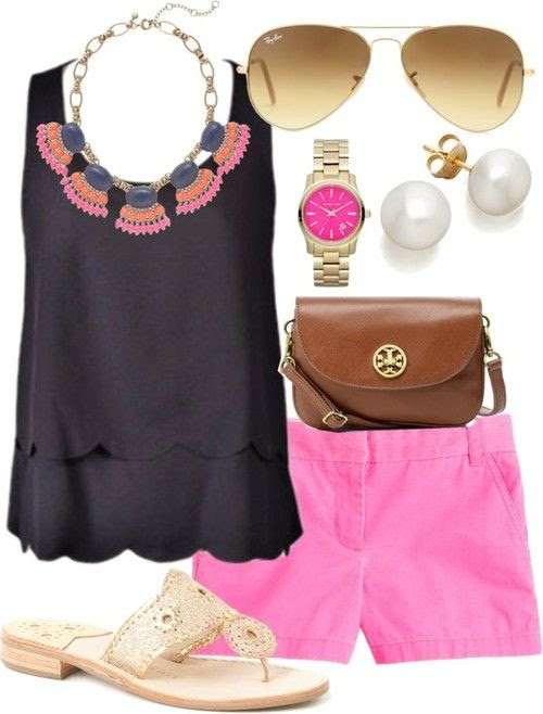 back top / J.Crew j crew / Jack Rogers glitter shoes / Tory Burch  handbag / J.Crew j crew / Pearl jewelry, $755 / Ray-Ban ray ban sunglasses
