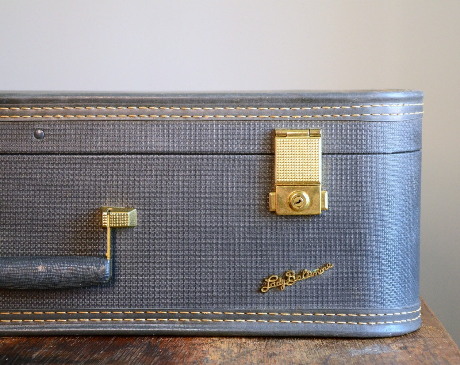 Vintage Slate Blue Lady Baltimore Suitcase