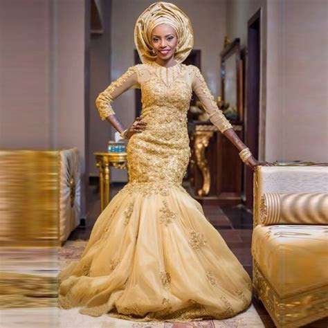 Aliexpress.com : Buy Gold Appliqued Mermaid Wedding Dress