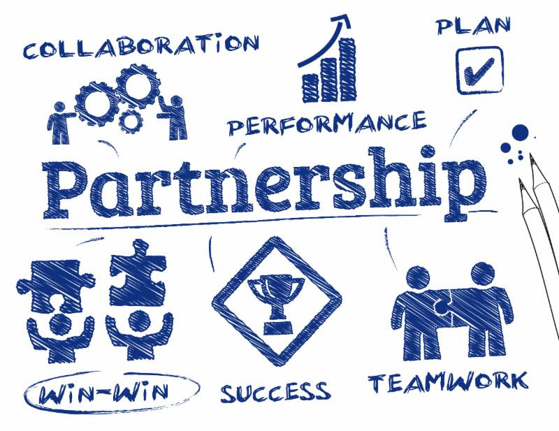 Hand-drawn depiction of partnership_ teamwork_ and collaboration