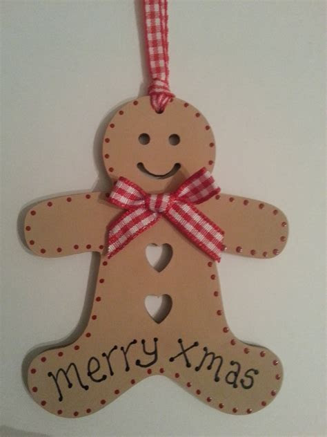 Wooden Christmas Gingerbread Man Gift Tag or Ch    Folksy