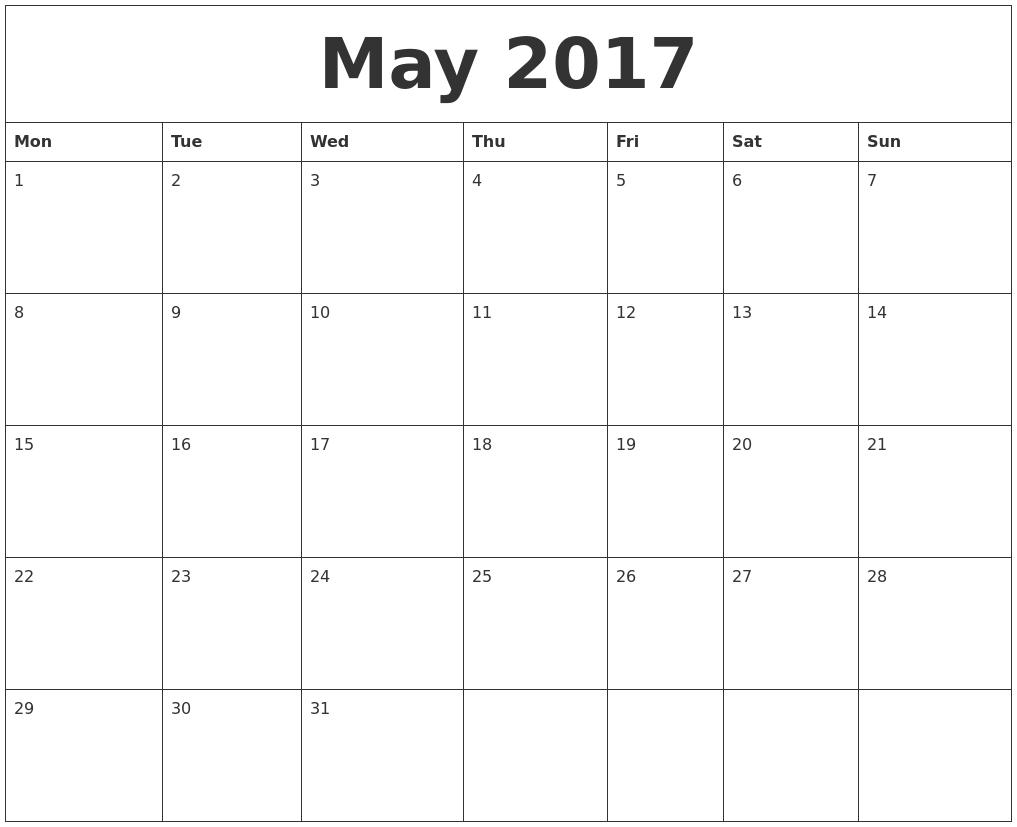 may 2017 create calendar monday start