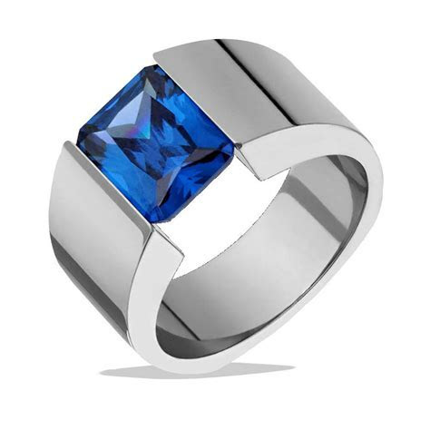 Mens Titanium Ring Blue Tanzanite Tension Set Wedding Band