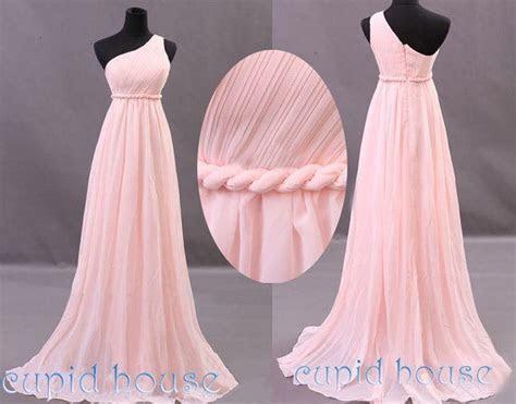 Long Pink Bridesmaid Dress One shoulder Mint Coral Grey