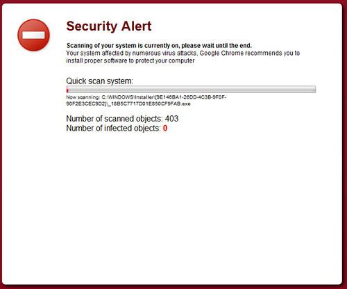 Tela de scan do virus rogue System Defender