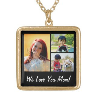 Personalized Collage 3 Photo Mother's Day Square Pendant Necklace