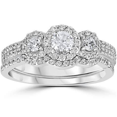 1.00Ct 3 Stone Diamond Engagement Wedding Ring Set 10K