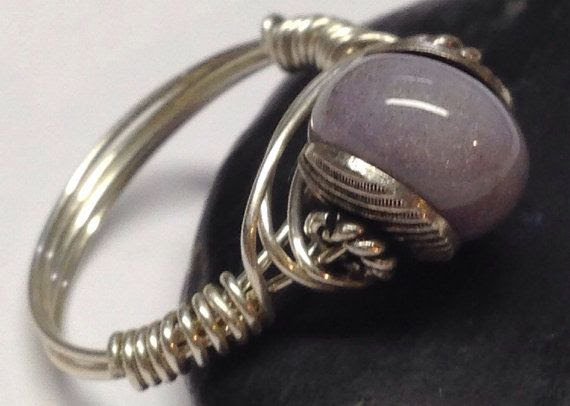 Beautiful Creamy Lavender Color Ocean Jasper and Bali Sterling Silver Wire Wrapped Ring