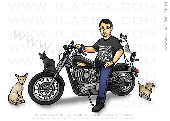caricatura homem na moto, caricatura desenho, caricatura divertida, caricatura para presente, caricatura digital, caricatura com gatos