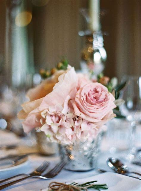 Rose Quartz Flowers in Mercury Vase as Wedding Centerpiece