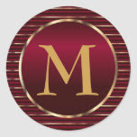 Rich Dark Red & Gold Monogram Envelope Seal Classic Round Sticker
