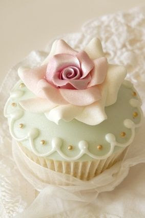 Elegant Cupcake Topped by a Rose