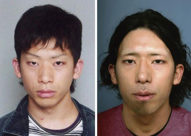 Fotos de antes e depois dos três anos de 'caçada' ao japonês Tatsuya Ichihashi, que se submeteu a mudanças estéticas no período (Foto: Reuters)