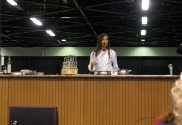 Whitney Miller conducts a cooking demo at the Anaheim Convention Center in California, on November 6, 2010.