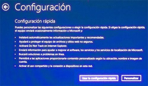 Configuración de la instalación de Windows 8