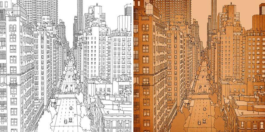 раскраски книга-взрослых-фантастические-города-Стив Макдональд-22