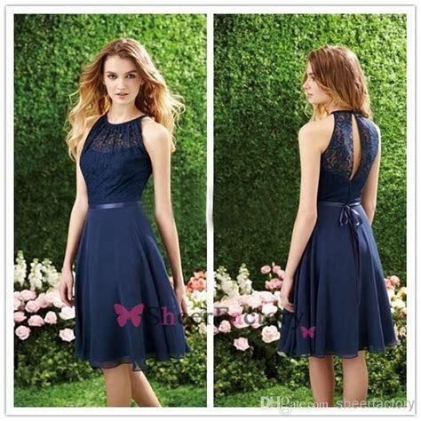 Cheap Short Navy Blue Bridesmaid Dress Halter High Neck