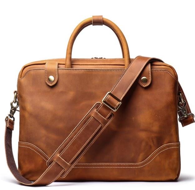 Get Vintage Men Genuine Leather Briefcase Simple Style Cowhide Crossbody Shoulder Men Bag Carry On Laptop Handbag Maleta DF106