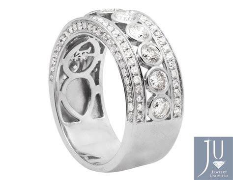 14k White Gold Mens Bezel 3d Diamond Wedding Band 10mm 3