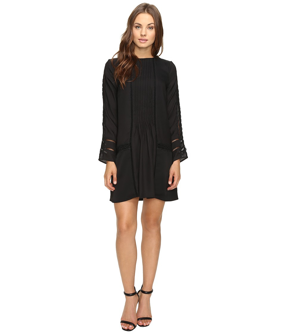 Adelyn Rae - Long Sleeve Drop Waist Shirtdress (Black) Women's Dress