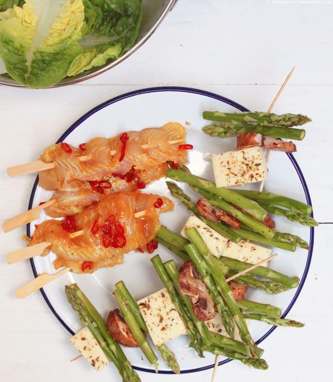 Grillspieße, Fischspieß, Halloumi, Grillkäse, Gemüsespieß, Pangasius