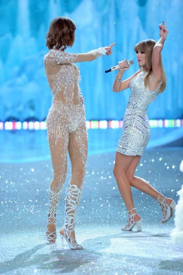 Taylor Swift and model Karlie Kloss walk the runway at the 2013 Victoria's Secret Fashion Show at Lexington Avenue Armory on November 13, 2013 in New York City. (Jamie McCarthy/Getty Images)