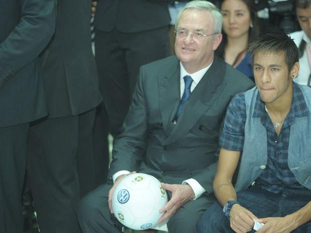 Neymar participou da coletiva da Volkswagen (Foto: Flavio Moraes/G1)