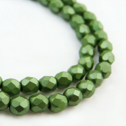 27099000-11 Firepolish - 4 mm Faceted Round - Pearl Pastel Sage Green (strand 45)
