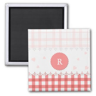 Plaid {pink} Personalized Magnet