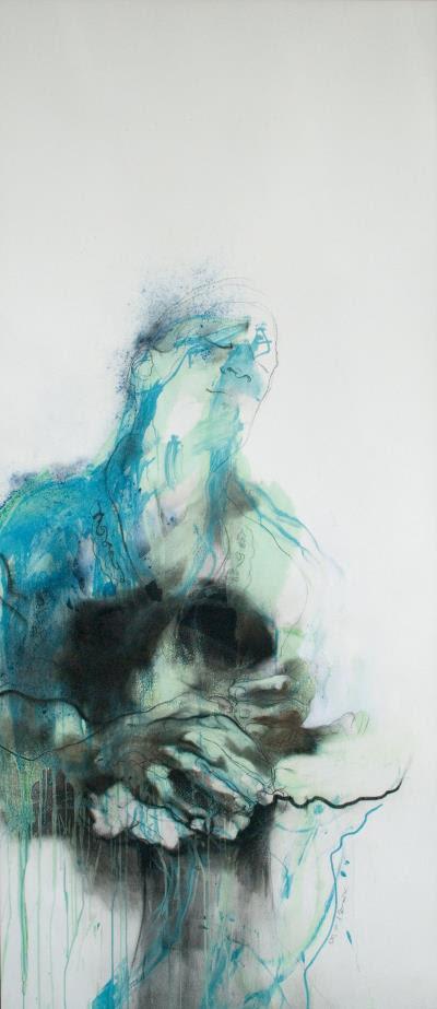 〈陷落〉,2009  壓克力  炭精  紙本  192X113cm