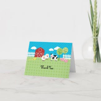 Barn Animals Thank You Card zazzle_card