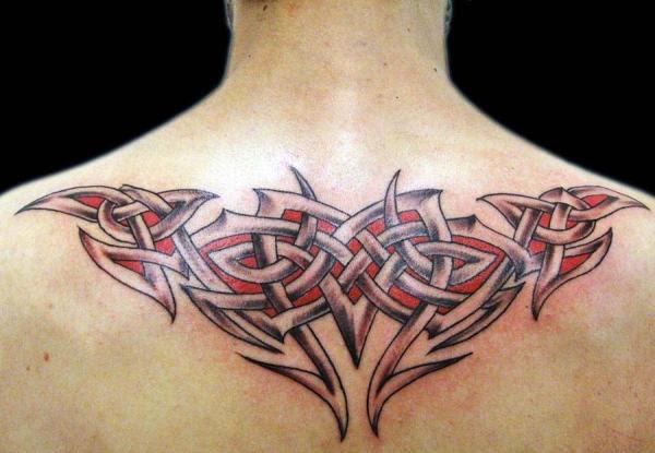 Upperback Color Ink Tribal Tattoo