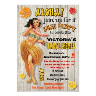 Hawaiian Luau Bridal Shower Invitations