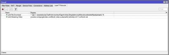 Setting Firewall dan Layer 7 mikrotik