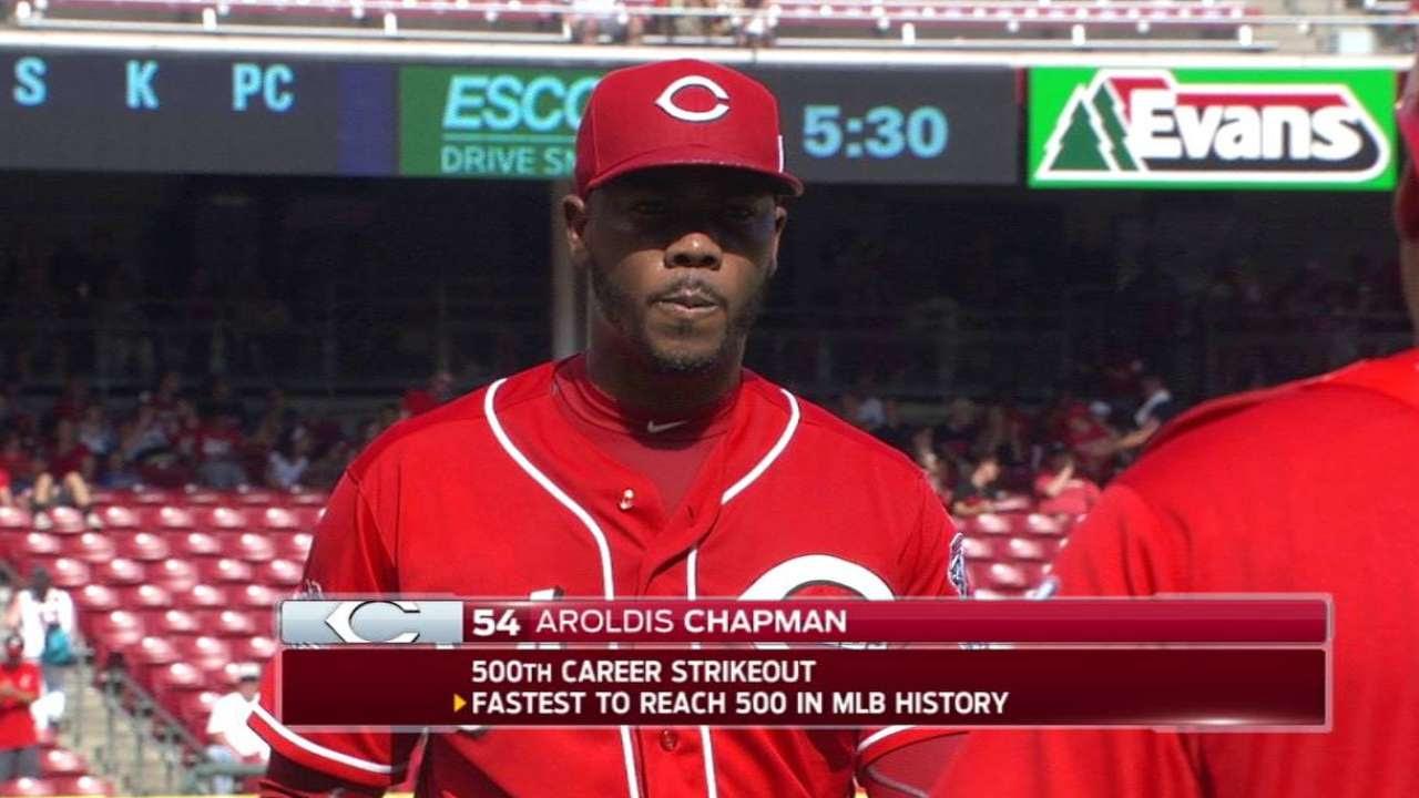 Aroldis Chapman es el más rápido en llegar a 500 ponches en G.L.