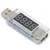 ルートアール USB 簡易電圧・電流チェッカー ストレート型 3.4V~8.0V,0A~3A クリア RT-USBVA2C (Rev.2)