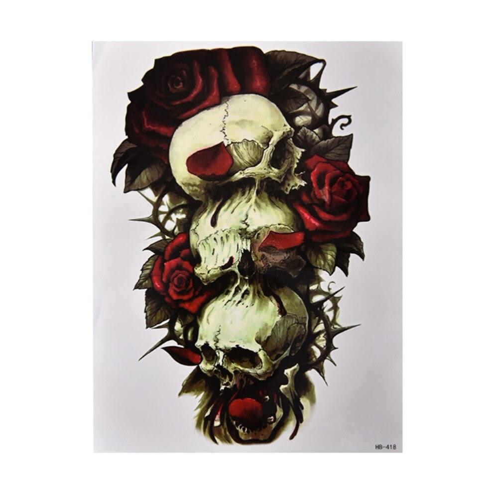 Hot Skull Tattoos Stickers Waterproof Trendy Temporary Tattoo Flower