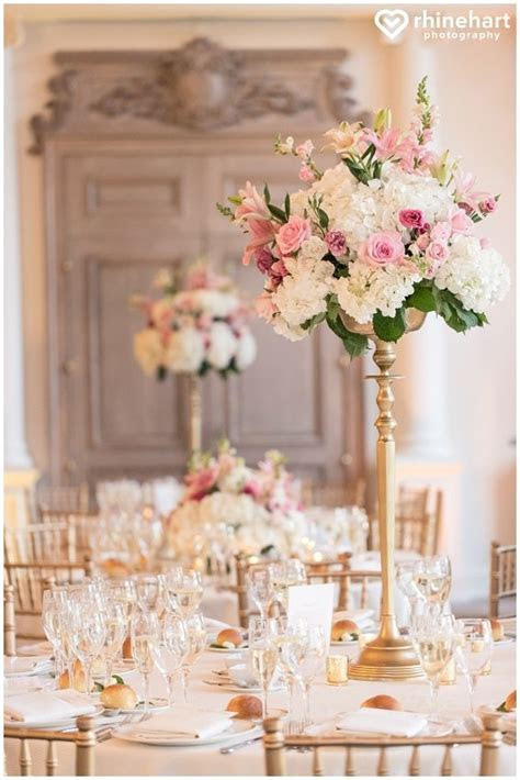 Tall wedding centerpieces, Pink white gold, romantic
