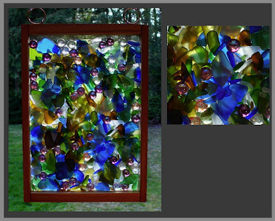 suncatcher, hanging, beach glass, mixed media