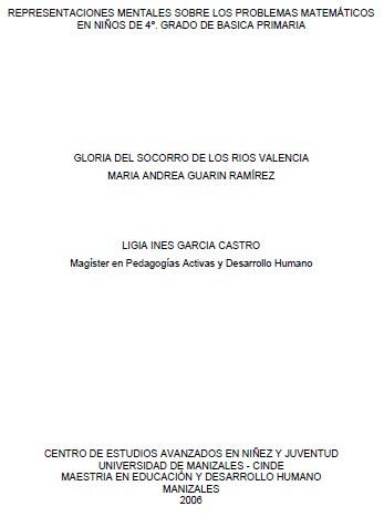 Representaciones Mentales Sobre Los Problemas Matematicos En Ninos De 4º Grado Titulo De Basica