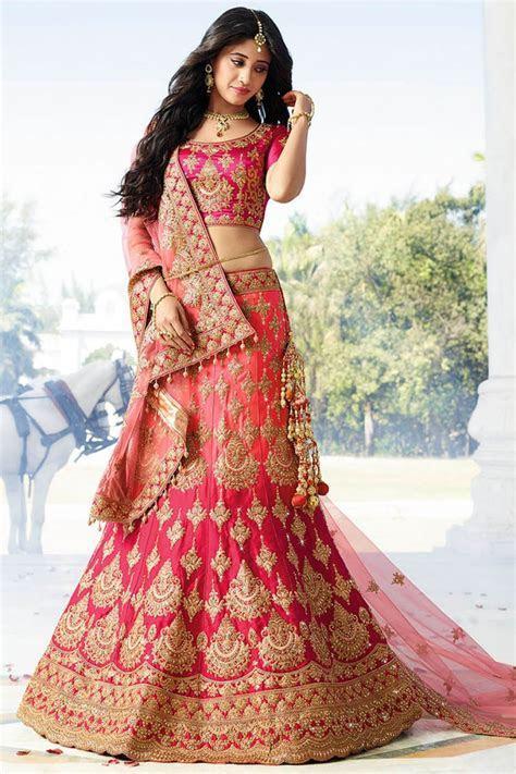 Buy Pink color silk wedding lehenga choli in UK, USA and