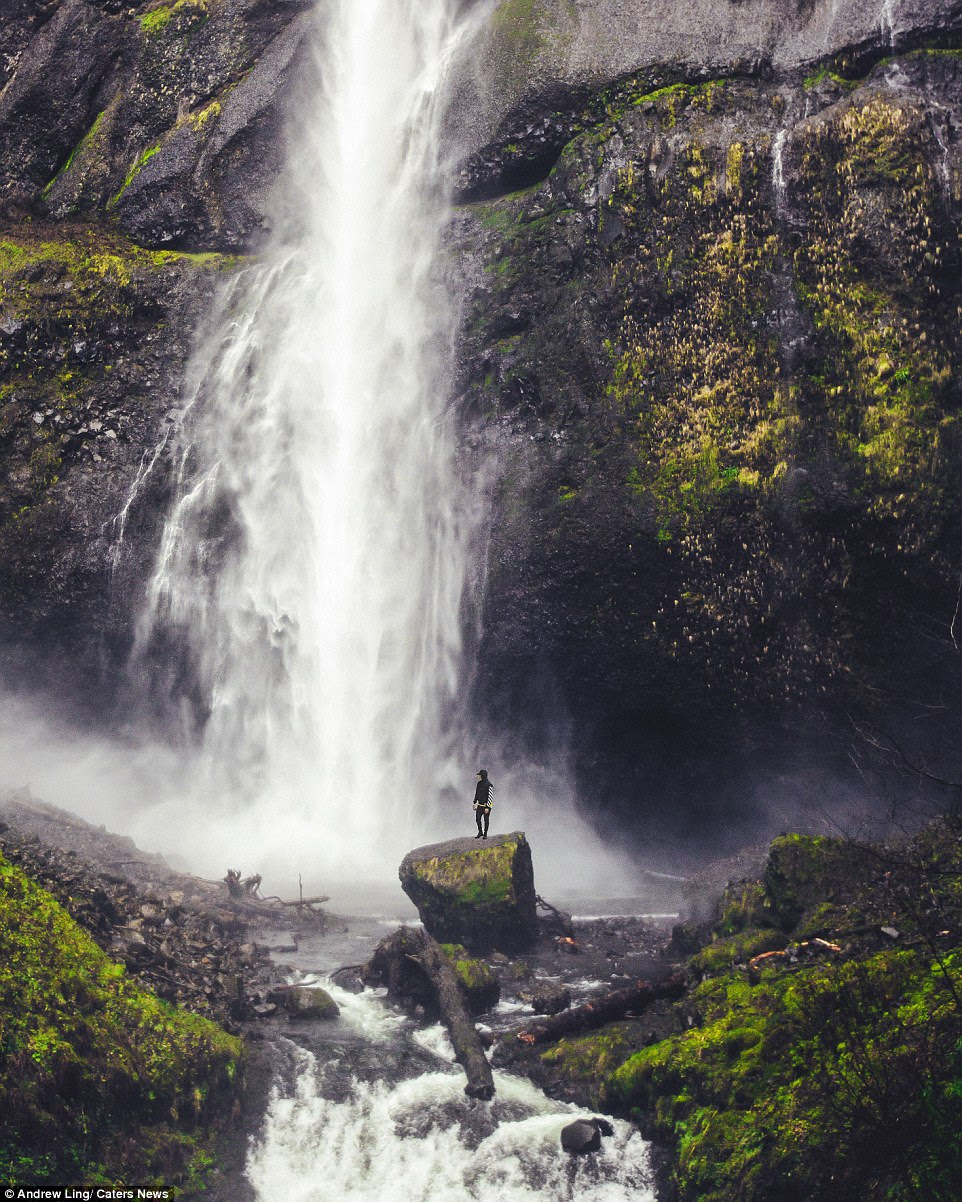 If he is shooting someone else, Andrew simply asks the person to enjoy the view at a certain point while he walks far enough way to shoot using his unique image style. This waterfall image was taken at Multnomah Falls, Columbia River Gorge, Oregon