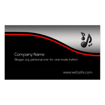 Musical Notes, red swoosh, metallic-look Business Cards