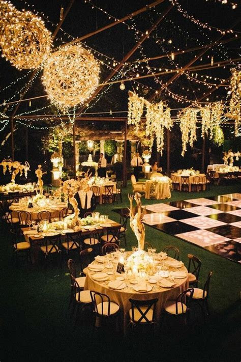 lights up evening wedding reception ideas for rustic