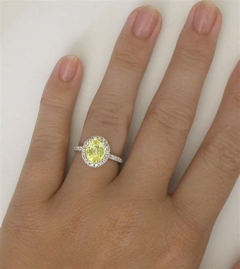 Diamond Halo Unheated Yellow Sapphire Engagement Ring in