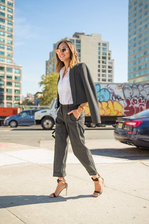 Le Fashion Blog Workwear Sunglasses Cropped Blazer Cropped Pleated Trousers Heeled Ankle Strap Sandals Via Popsugar