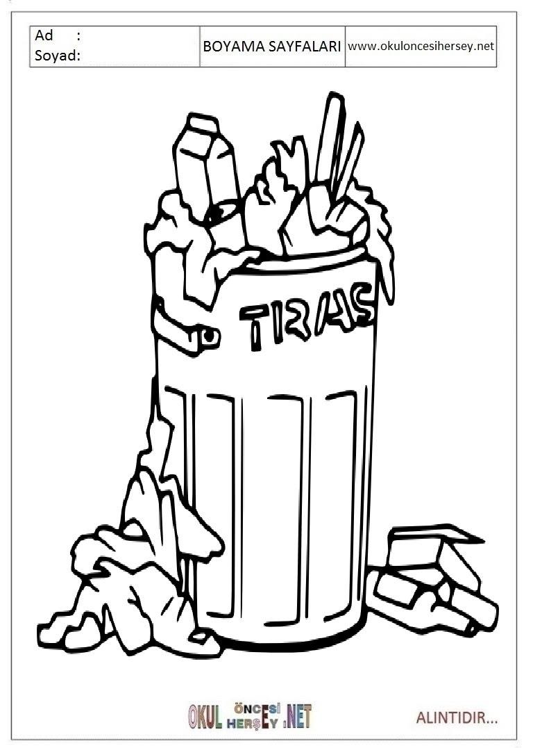 çöp Kutusu Boyama Sayfaları
