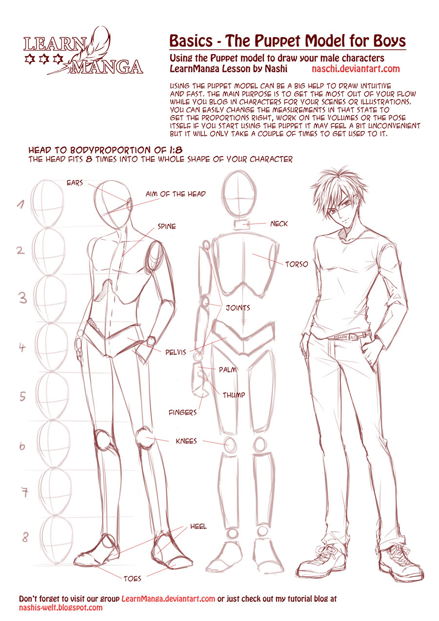 Body anime draw male to how deviantart the puppet male naschi on basics learn manga