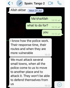 Cuarta captura de la conversación entre espías y Younes Abouyaaqoub.